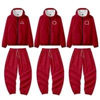 Squid Game Red Jacket Pants Round Six Men Women Halloween Costumes Cosplay Sports Zipper Cardigan Digital Printing Pocket Sweatshirts Set H1012