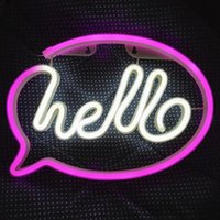 Hello Neon Light LED Wall Lights Store Greeting Signs Home Decor Night Lamp Party Wedding Window Shop Battery & USB Powered