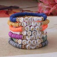 Charm Bracelets DIY Digital Letter Boho Name Women Number Handmade Custom Disc Beads Pulseras African Manual Design