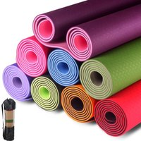 Cushion Decorative Pillow Two-color TPE Yoga Mat Exercise Pad Thick Non Slip Folding Gym Fitness Pilates Outdoor Home Training With Bag