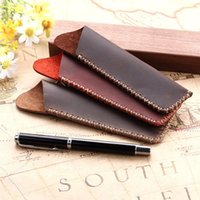 Сумки для карандашей Верхняя степень подлинной кожи ручка сумка держатель винтажной сумки чехол рукав для фонтана / шариковая поездка