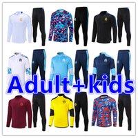 Crianças + Mens Adulto 20 21 Futebol Treinamento Tracksuit Futebol Jerseys Tracksuits Terno 2021 2022 Real Madrid Survitement Foot Chandal Jacket Jaqueta Jogging Sets Kit