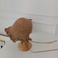 202104-YZ نمط الريفية الفرنسية اليدوية ورقة الانحناء حافة سيدة الشمس كاب المرأة الترفيه قبعة القبعات واسعة