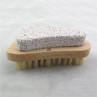 Natürliche Borstenbürste Fuß Peeling Dead Skin Remover Bimsstein Stein Füße Holz Reinigungsbürsten Haushaltsdusche Spa Massagegerät HWF8858
