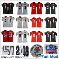 UGA Georgia Bulldogs كلية 150th الذكرى 11 Jake Fromm 7 Dandre Swift 3 Zamir White Todd Gurley II 34 Herchel Walker Sugar Bowl Jersey