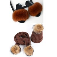 Slippers Winter Ladies Fur Suit Fluffy Plush Slides Women Outdoor Warm Hat Scarf Gift Set Home Party Furry