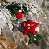 Christmas Tree Decorations Knitted Hat Star Small Pendant Xmas DIY Home Party Ornaments