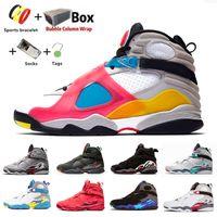 Jumpman 8 VII 8S الرجال أحذية كرة السلة متعددة الألوان quai عاكس 54 غارة ثلاثة الخث أكوا كروم ساوث بيتش رجل الرياضة رياضية عيد الحب مع مربع