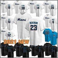 Miami Özel Marlins Beyzbol Forması 15 Brian Anderson 25 Lewis Brinson 5 Jon Berti 24 İsa Aguilar 38 Jorge Alfaro 14 Adam Duvall Cooper