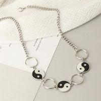 Pendant Necklaces Creative Personality Geometric Circle Necklace Gossip Taiji Bagua Yinyang Charms