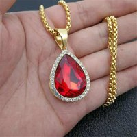 Pendant Necklaces Hip Hop Iced Out Water Drop With Stainless Steel Chain Rhinestone Golden Necklace For Women Men Jewelry