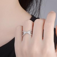 Wedding Rings RONERAI Fashion Sterling Silver 925 For Women Party Exquisite Micro-Inlay Zircon Cross Ring Jewelry Valentine's Day Gifts