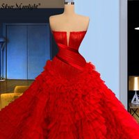 Party Dresses Red Ruffles Tiered Evening For Women Straples Layers Tulle Celebrity Pageant Gowns Prom Robe Vestidos De Fiesta