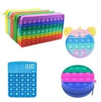 Empurre Bubble Fidget Brinquedos Lápis Caso Carteira Calculadora Silicone Squeeze Antistress Soft Squishy Crianças Brinquedo Presentes
