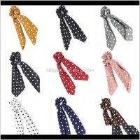 Хвосты пони ювелирные изделия1PC1PC Poyka Dots дизайн шифон ткань эссенсистки хвост держатель для волос галстуки резингистые полосы большие длинные бантики доставка 2021