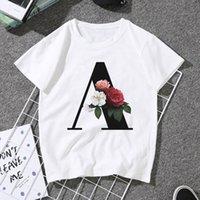 for 26 alphabet letter T-Shirt Women Girls Casual Short Sleeve A to Z Initials Flower Combination T Shirt Tops,Drop Ship