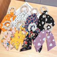 Hair Accessories Women Pearl Ties Fashion Ribbon Hairband Scrunchies Girls Ponytail Holders Bow Rubber Band Headwear