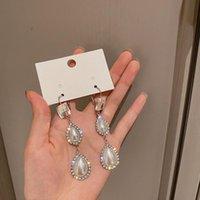 매달려 샹들리에 원산지 여름 한국 패션 워터 드롭 시뮬레이션 진주 클립 귀걸이 빛나는 라인 석 기하학적 쥬얼리