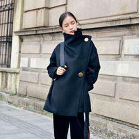 Women's Wool & Blends LANMREM Winter 2021 Big Gold Button Black Loose Slant Placket Woolen Coat Design Lace Up Temperament Tweed Woman YK126