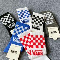 Chaopai Vance Socks Pure Bambini Pure Cotton Lovers 'Imballaggio indipendente Imballaggio Medio Long Tube CheckerBoard Moda Skateboard in bianco e nero
