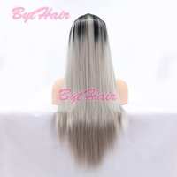 Bythair morbido 1b radice ombre grigio resistente al calore fibra lunga grigio grigio sintetico parrucca anteriore in pizzo anteriore donna stile capelli stile