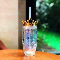 2021 New Starbucks Valentine's Day dazzle colour Crown glass straw cup 430ML Relief Mermaid Coffee mug 18oz Ice cup