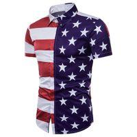Yaz Yeni Tasarım erkek Moda T-Shirt Amerikan Bayrağı Yıldız Baskılı Gömlek Günlük Rahat Plaj Kısa Kollu Pamuk Blend Gömlek