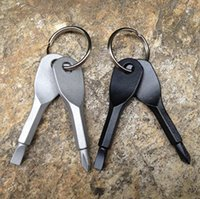 Taşınabilir Paslanmaz Çelik Çok Araçları Anahtarlık EDC Tornavida Seti Cep Açık Aracı Seti Multitools Anahtarlık Şerit Siyah