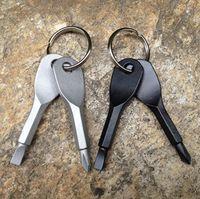 Portable Acciaio inossidabile multi strumenti Portachiavi ad anello EDC Set Set Set Pocket Tool Set Multitools Keychain Sliver Nero