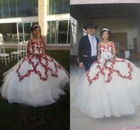 Modern Red 3D Floral Flowers White Quinceanera Dresses 2021 Ball gown Jewel Neck Long Sleeves Illusion Beaded Lace Sweet 15 Prom Eveening Dress