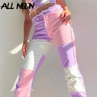 Women's Jeans ALLNeon Y2K E Girl Patchwork High Waist Hip Hop Demin Stitch With Pockets Straight Pants Streetwear Pink Trousers Fashion
