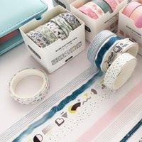 Gift Wrap 5pcs Creative Blue Ripple Washi Tape Masking DIY Handbook Dairy Journal Scrapbooking Po Decoration Sticker 1cm*3m