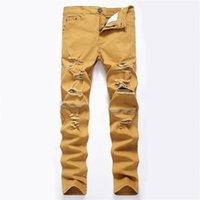 Men's Jeans Men Slim Fit Holes Zipper Stretch Trousers Trend White Black Destroy Hip Hop Casual Daily Demin For Male
