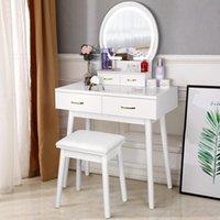 Amzdeal Vanity Masa Işıklı Ayna, Makyaj Soyunma Masa 3 Renk Aydınlatma Modları Ayarlanabilir Parlaklık, Yatak Odası için 4 Çekmece Yastıklı Tabure - Beyaz