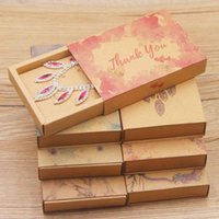 Gift Wrap Kraft Paper Box Color Printing Necklace Earring Set Ring Drawer Boxes For Jeweller