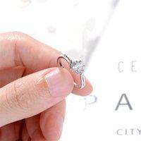 925 الفضة الاسترليني امرأة الأزياء والمجوهرات جودة عالية كريستال الزركون زهرة مفتوحة حلقة حجم خواتم قابل للتعديل 2292 Q2