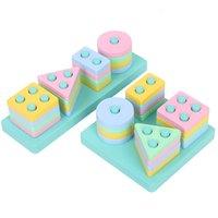 Qwz Nova DIY Blocos de Construção de Madeira Montessori Forma Geométrica Emparelhamento Modelo Definir Brinquedos Educativos Antes Para Crianças Crianças 1019