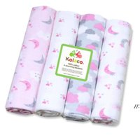Newborn Blanket Baby waddle Bath Towels Flannel Cotton Towels Air Condition Towel Cartoon Printed Swaddling Stroller Cover 1Set 4pcs AHF7794