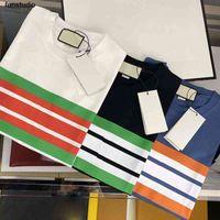21ss Erkek Tee T Shirt Paris Renk Şerit Mektup Baskı Erkekler Giysileri Kısa Kollu Erkek Gömlek Etiketleri Etiketler Mektuplar Polo Yeni Siyah Beyaz 08