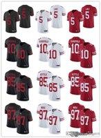"Homens Mulheres Juventude San Francisco ""49ers"" 85 George Kittle 10 Jimmy Garoppolo 5 Trey Lance 97 Nick Bosa Vermelho Futebol Futebol Jersey"
