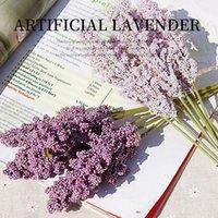 Decorative Flowers & Wreaths 10 Pieces Bundle PE Lavender Artificial Flower Wholesale Plant Wall Decoration Bouquet Material Manual Diy Vase