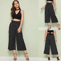 Women's Pants & Capris UK Stock Women Lady Palazzo Plain Flared Wide Leg Summer Casual Baggy Striped Trousers