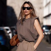 Summer Sleeveless Top Female O Neck White Women Blouse Shirt Ladies Loose Solid Chic Casual Blouses Black 2021 Cotton Brown Women's & Shirts