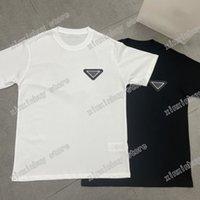 2021 Designer Mens Womens T Shirts Dreiecks Label Buchstaben Mann Paris Mode T-Shirt Top Qualität T-Shirts Straße Kurzarm Luxurys Tshirts Weiß Schwarz