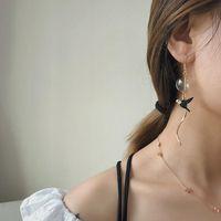 Charming Green Bubble Swallow Long Earrings 2021 Sweet Blown Glass Dangle For Women Korean Femme Bijoux & Chandelier