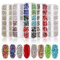 12 Grids Crystals Glass AB Nail Art Diamonds Mixed Style DIY Design Glitter Flat Back Round Nails Rhinestones with Storage Organizer Box