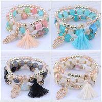 3pcs set Bohemian Beaded Bracelets Multilayer Palm Tassel Pendant Temperament Bracelet For Women Girls Fashion Jewelry Gift 5 Colors Capoi