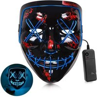 NEWCosmask Halloween Mixed Color Led Mask Party Masque Masquerade Masks Neon Maske Light Glow In The Dark Horror Glowing Facecover GWF11155