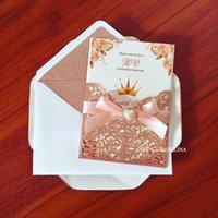Invitación de boda de lujo con cariño perla Rhinestone y Ribbon Sobre Brillo Forrado DIY Gold Pink Pocket Quinceañera Tarjetas