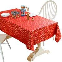 Table Cloth Christmas Bronzing Tablecloth Rectangular Linen Cotton Kitchen Dining Mat Cover Garden Decoration